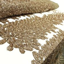 """Bronze Bridal Liatris floral Lace Sequin Beaded Scallop Fabric for Dress 52"""" BTY"""