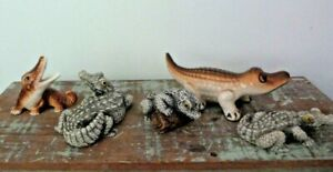 Vintage Mixed Small Crocodiles Collection 5 x Figurines