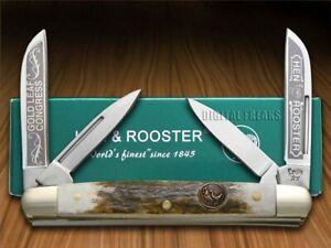 Hen & Rooster Medium Congress Knife Gold Leaf Deer Stag 214-DS/GL
