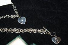 "Letter "" S "" Women's Charm Bracelet & Necklace Silver Tone Heart New NIB NWT"