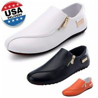 US Men's Leather Casual Shoes Flats Slip On Loafers Driving Moccasins Zipper