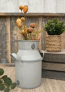 Shabby Metal Milk Churn Rustic Detail Vintage Style Wedding Flower Vase Pot Jug