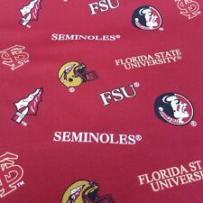 "NCAA Florida State University FSU SEMINOLES Licensed Cotton Fabric 42"" X 2 Yards"