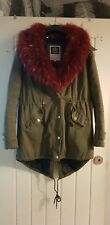 Khaki Green Parka Winter Coat Jacket Red Dettachable Faux Fur UK10