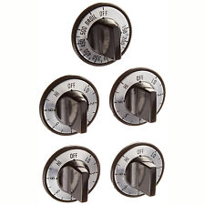 Electric Burner Knob Kit 5pcs Oven Stove Cook Top Range Surface Control Black