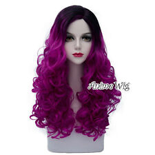60CM Gothic Lolita Ombre Purple Mixed Black Long Curly Halloween Cosplay Wig
