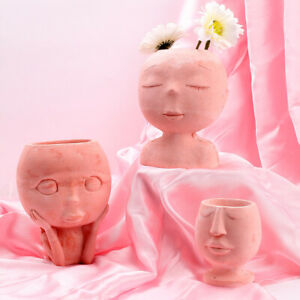 Concrete Planter Silicone Mold Human Head Cement Pen Holder Mould Flowerpot Mold