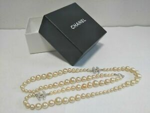 CHANEL Authentic Long Faux Pearl Necklace Length 34 inch Used from Japan