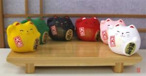 Japanese lucky cats round set of  6 colours