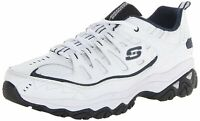 Skechers Mens Fit Reprint Leather Low Top Lace Up Running, White/Navy, Size 10.5