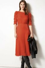 SIZE 14 Marks And Spencer Jacquard Print Fit & Flare Midi Red Dress Regular M&S