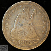 1854 Arrows Seated Liberty Quarter, Very Good+ Condition, Free Shipping, C4983