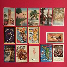 (14) single FLORIDA playing cards-VINTAGE-weeki wachee PIN UP maps SCENES etcETC