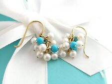 TIFFANY & CO SILVER 18K YELLOW GOLD PEARL TURQUOISE BRIOLETTE DANGLE EARRINGS