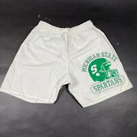 NEW Vintage Michigan State University MSU Spartans Gym Shorts Mens M White USA
