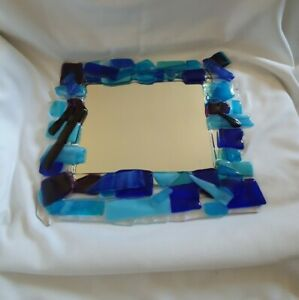 ❀ڿڰۣ❀ STUDIO ART GLASS Handmade MOSAIC FUSED GLASS Framed WALL MIRROR ❀ڿڰۣ❀ OOAK