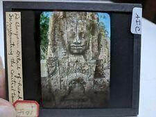 Colored Glass Magic Lantern Slide AIC Cambodia Angkor Buddhist Bayon Head Detail