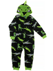 St. Eve Boys Black Dino Hooded Fleece One-Piece Blanket Sleeper