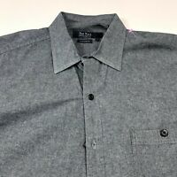 Nat Nast American Fit Large Gray Mens Button Front Long Sleeve Casual Shirt
