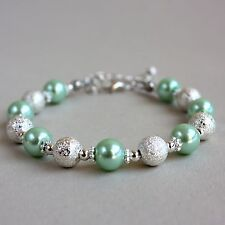 Silver stardust light mint green pearls beaded bracelet wedding bridesmaid gift