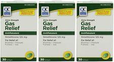 3 Pk Quality Choice Extra Strength Gas Relief Simethicone 125mg Softgel 30 Ct ea