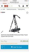 Manfrotto 526 Pro Fluid Video Head & 545GB Pro Alu Video Tripod w/MBAG100P +NEW