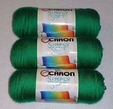 Caron Simply Soft Yarn Lot Of 3 Skeins (Kelly Green #9769) 6 oz.