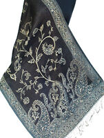 "Dark Blue Wool Silk Jamavar Shawl. Baby Blue & White. Paisley Jamawar  72""x27""."