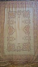 """Outstanding! Vintage Filet Lace Tablecloth Linen Center Hand Embroidery 68""""x84"""""""