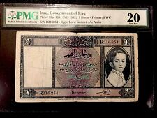 Government Of Iraq Kingdom 1 Dinar P18a Baby King Faisal PMG 20 VF - SCARCE NOTE