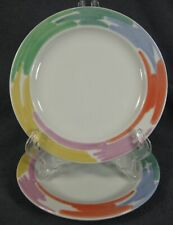 Block Palette Bread Plates Lot of 2 Spal Pastel Color Rim Jack Prince Portugal