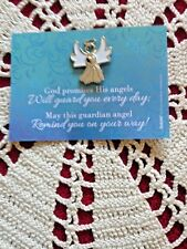 """ANGEL LAPEL PIN 1""""H GUARDIAN ANGEL CARD 2 Pieces,  GREAT TOKEN GIFT FOR GROUPS!"""