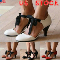 WOMENS LADIES MID KITTEN HEEL MARY JANE OFFICE WORK OL FORMAL LACE UP SHOES SIZE
