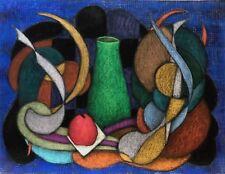 Superbe grand pastel Abstraction et Nature morte signé R Revaute Abstrait 1981
