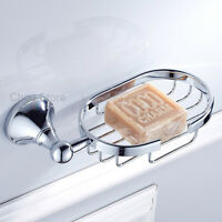 Chrome Bathroom Shower Soap Holder Dish Basket Bath Soap Tray Simple Round NEW