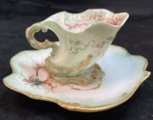 Unmarked Limoges Hand Painted Demi-Tasse Cup & Saucer Sea Life / Shells Unusual