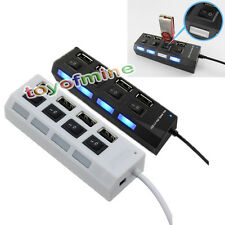 White USB Hub Expansion Spliter with ON/OFF Switch 4 Port USB 2.0 Fast Spee