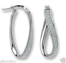 9CT HALLMARKED WHITE GOLD MOONDUST INLAID OVAL TWIST 29MM HOOP EARRINGS