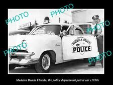 OLD POSTCARD SIZE PHOTO MADEIRA BEACH FLORIDA THE POLICE PATROL CAR c1950
