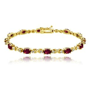 Oval Infinity Created Ruby & White Topaz Bracelet in Gold Plated Silver