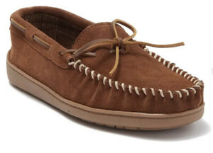 Minnetonka Tory Traditional Trapper Suede Flannel Lined Moccasins Slippers 10