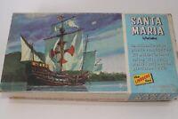 Vintage 1966 Lindberg Santa Maria Model Ship Kit Columbus Sailing Partial Built