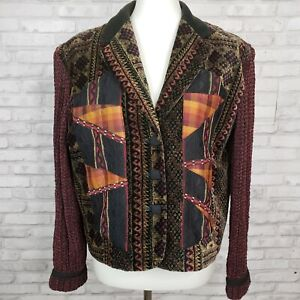 Canvasbacks Lutton Horsfield artsy jacket M boho pattern velvet silk appliques