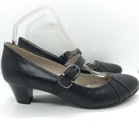 M&S Marks and Spencer Footglove Mary Janes UK 6 Wider Fit Leather Black Buckle