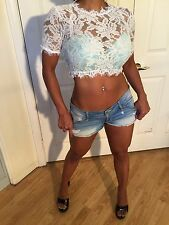 Festival style Sexy Sheer White Lace Crop Top (this top runs small) S