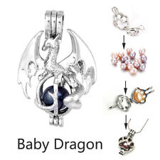 Dragon Pearl Cage Pendant Necklace Silver Plated Diy Christmas Birthday Gift X1
