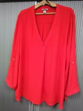 Bright Red Long Sleeve - Blouse Top / Shirt - Good 4 Spring & Summer - Size 22