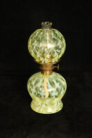 RARE VASELINE GLASS OPALESCENT OPALINE BROCADE SPANISH LACE MINIATURE LAMP EAPG