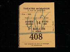 TICKET THEATRE MOGADOR 1953