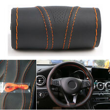 Universal 38cm Car Steering Wheel Cover PU Leather Protector w/ Orange String